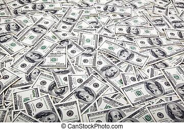 een honderd dollar, rekeningen, achtergrond, -, warboel