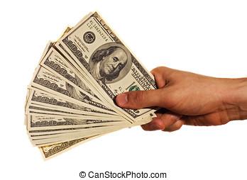 een honderd dollar, rekeningen, in, een, hand