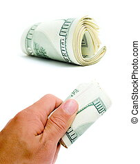 een honderd dollars, in, een, hand