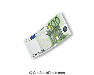 een honderd euro, rekening, vrijstaand, op wit