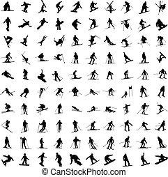 een honderd, silhouette, van, skiers.