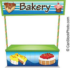 een, houten, bakkerij, stalletje