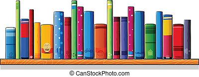 een, houten, plank, met, boekjes