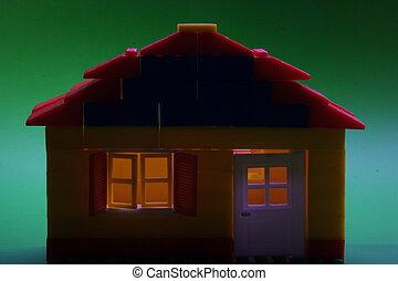 een, huis binnen, duisternis, lit boven, binnen