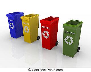 een, illustratie, van, 4, recyclerende containers