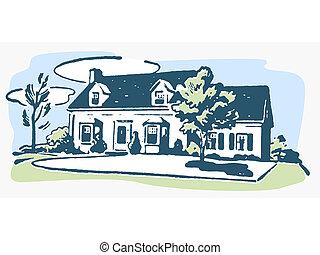 een, illustratie, van, een, huis in de voorsteden