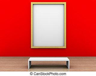 een, illustratie, van, een, museum, kamer, met, frame