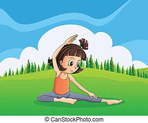 een, jong meisje, doen, yoga, op, de, heuveltop