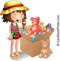 een, jong meisje, naast, een, doosje, van, speelgoed