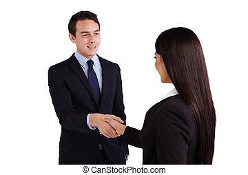 een, jonge, kaukasisch, zakenmens , is, schuddende hand, met, een, zakelijk, woman.