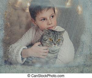 een, jongen, en, een, kat, op, een, winter, venster