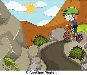 een, jongen, het berijden van een fiets, op, berg