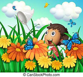 een, jongen, het vangen van vlinders, op, de, bloemtuin