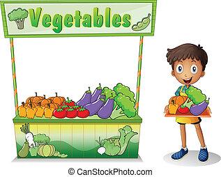 een, jongen, het verkopen, groentes