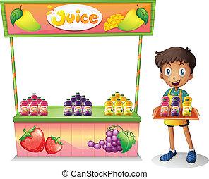 een, jongen, het verkopen, vruchtesappen