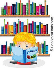 een, jongen, in, de, bibliotheek, lezende , een, engelse , boek