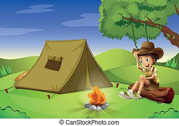 een, jongen, met, een, tentje, en, een, kamperen vuur