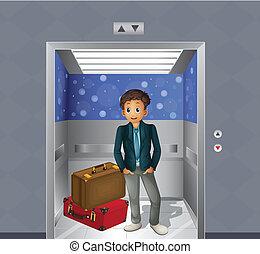 een, jongen, met, twee, reizende zakken, binnen, de, lift