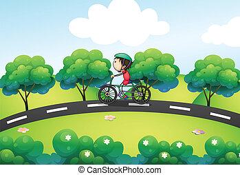 een, jongen, paardrijden, in, zijn, fiets, op, de, straat