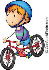 een, jongen, paardrijden, op een fiets