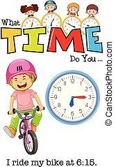 een, jongen, rijdende fiets, op, 6:15