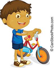 een, jongen, spelend, fiets