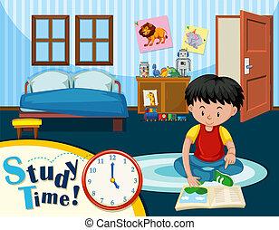 een, jongen, studerend , in, slaapkamer