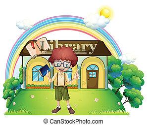 een, jongen, voor, de, bibliotheek, in, de, heuveltop