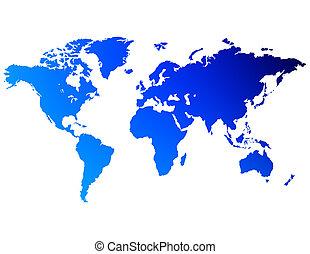 een, kaart, van, de wereld