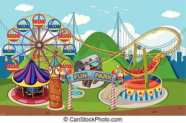 een, kaart, van, plezier, park