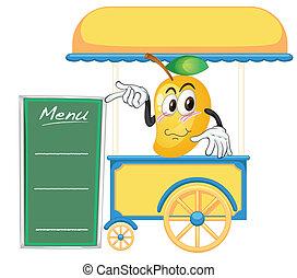 een, kar, stalletje, en, een, mango