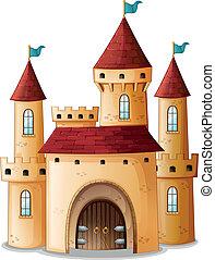 een, kasteel, met, drie, blauwe , vlaggen
