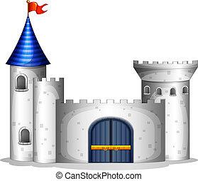 een, kasteel, met, een, rode vlag