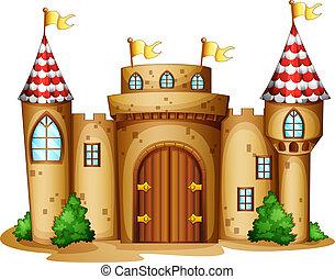 een, kasteel, met, vier, banieren