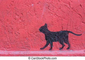 een, kat, op, de, rode muur