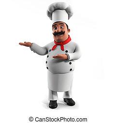 een, keuken, kok