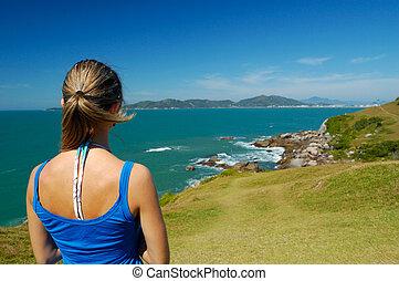 een, kijkende vrouw, landscape