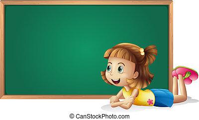 een, klein meisje, en, een, plank
