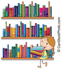 een, klein meisje, in, de, bibliotheek