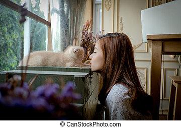 een, klein meisje, met, een, schattig, kat, .