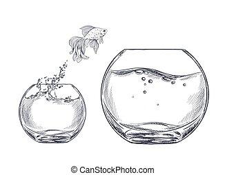 een, kleine, goudvis, anderen, fishbowl, springt