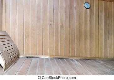 een, kleine, stoomcabine, met, houten, muren