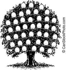 een, kleur, gezin, boom., portretten, zijn, separated.,...