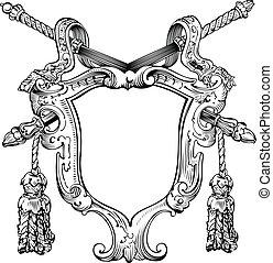 een, kleur, heraldisch, schild, en, staven