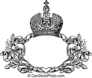 een, kleur, retro, elegant, koninklijke kroon, bochten