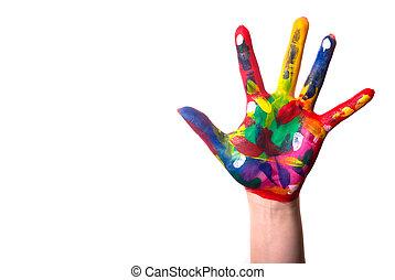 een, kleurrijke, hand, met, de ruimte van het exemplaar