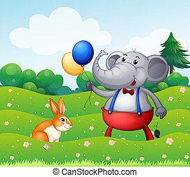 een, konijn, en, een, elefant, met, ballons