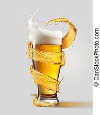 een, koude, glas bier, en, een, gespetter