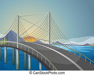 een, lang, brug