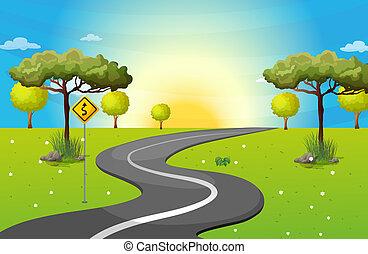 een, lang, en, windende straat, op, de, bos